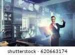 woman with laptop in hands....   Shutterstock . vector #620663174