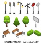 city street elements set with... | Shutterstock .eps vector #620669039