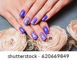 Purple Nail Art With Pink...