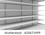 3d empty supermarket shelves | Shutterstock . vector #620671499