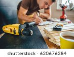 yellow power drill and man...   Shutterstock . vector #620676284
