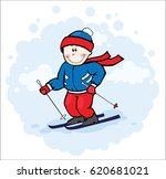 olimpic skier | Shutterstock . vector #620681021