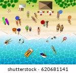 top view of sunbathing people.... | Shutterstock .eps vector #620681141