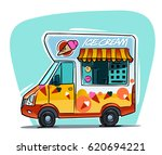 ice cream van cartoon... | Shutterstock .eps vector #620694221