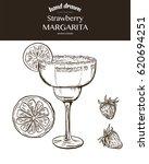 strawberry margarita. vector... | Shutterstock .eps vector #620694251