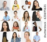 collection of people with red... | Shutterstock . vector #620695631