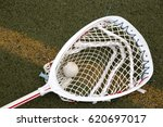 a red and white lacrosse goalie ... | Shutterstock . vector #620697017