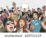 illustration of festival crowd... | Shutterstock .eps vector #620721119