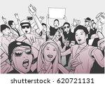 illustration of festival crowd... | Shutterstock .eps vector #620721131