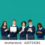 group of diverse students using ... | Shutterstock . vector #620724281