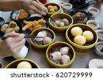 dim sum in bamboo steamer ...   Shutterstock . vector #620729999