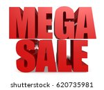 red mega sale word isolated  3d ... | Shutterstock . vector #620735981