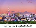 tokyo  japan skyline with mt.... | Shutterstock . vector #620737601