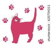 fluffy cat   illustration  | Shutterstock .eps vector #620754311