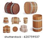 wooden barrel vintage old style ... | Shutterstock .eps vector #620759537