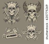 skull biker set | Shutterstock .eps vector #620775269