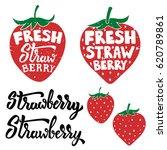 hand drawn fresh strawberry... | Shutterstock .eps vector #620789861