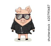 pink pig with black sunglasses...   Shutterstock .eps vector #620795687