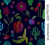 summer garden. floral seamless... | Shutterstock .eps vector #620795774