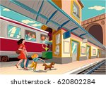 train station is a train...   Shutterstock .eps vector #620802284