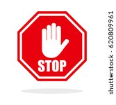 red stop hand sign | Shutterstock .eps vector #620809961