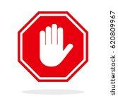 red stop hand sign | Shutterstock .eps vector #620809967