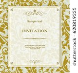 vintage invitation card with... | Shutterstock .eps vector #620819225
