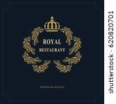 floral monogram luxury design ... | Shutterstock .eps vector #620820701