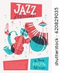 vector jazz festival poster... | Shutterstock .eps vector #620829035