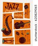 vector jazz festival poster...   Shutterstock .eps vector #620829065
