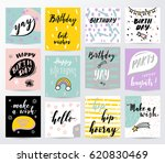 happy birthday card set | Shutterstock .eps vector #620830469