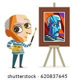 cute cubism painter cubist... | Shutterstock .eps vector #620837645