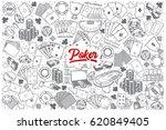 hand drawn poker doodle set... | Shutterstock .eps vector #620849405
