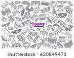 hand drawn crowns doodle set... | Shutterstock .eps vector #620849471