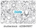 hand drawn jewelry doodle set... | Shutterstock .eps vector #620849897
