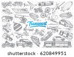 hand drawn transport doodle set ... | Shutterstock .eps vector #620849951