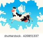 flying cow with wings from milk....   Shutterstock .eps vector #620851337