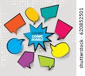 funny set comic book cartoon... | Shutterstock . vector #620852501