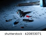 Small photo of AREZZO, ITALY - NOVEMBER 11, 2014: Close-up of electronic components on scheme at night