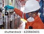 workers petroleum test sediment ... | Shutterstock . vector #620860601