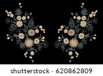 delicate flower embroidery with ... | Shutterstock .eps vector #620862809