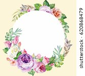 watercolor flowers wreath with... | Shutterstock . vector #620868479