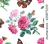 seamless pattern of roses and... | Shutterstock . vector #620875235