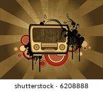 old fashion radio on retro...   Shutterstock . vector #6208888