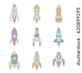 rockets outline colored icon... | Shutterstock .eps vector #620899295