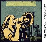 vintage propaganda poster and... | Shutterstock .eps vector #620902859