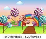 scene with candy field... | Shutterstock .eps vector #620909855