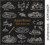 vector set with appetizers hand ... | Shutterstock .eps vector #620916629