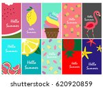 set of hello summer cards | Shutterstock .eps vector #620920859