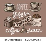 hand drawn doodle coffee...   Shutterstock .eps vector #620929367
